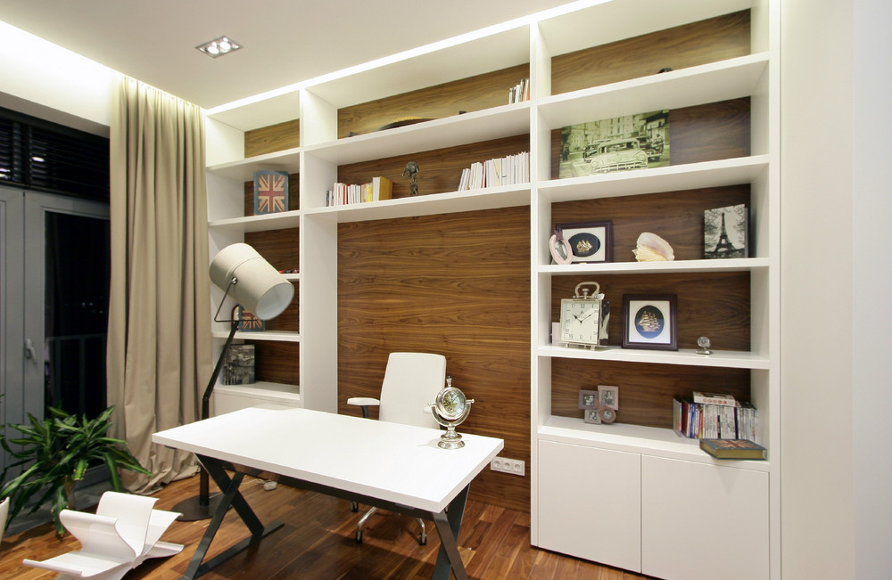 astounding home office plus large bookshelves with wood floor laminating design ideas also white worspace table and swivel side chair as well as beige