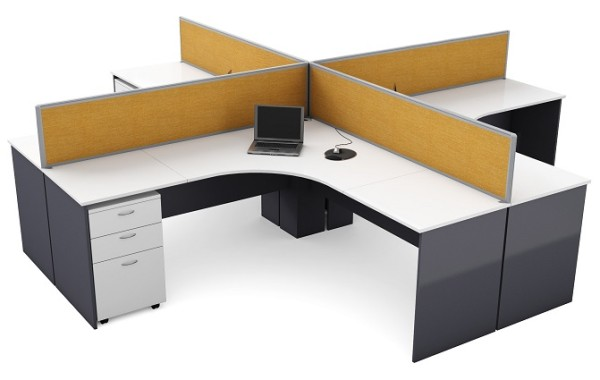ID: HT WS07, 4 Seater Workstation Desk