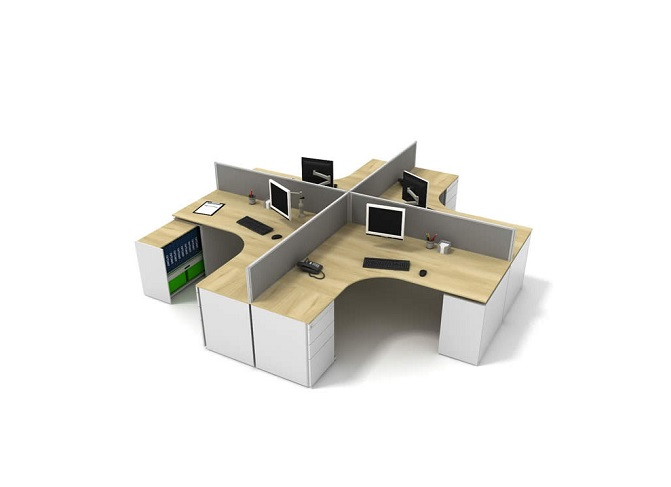 ID: HT WS19, Round 4 Seater Workstation