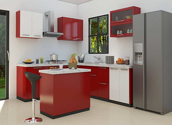Ht Cab103 Red Kitchen Cabinet